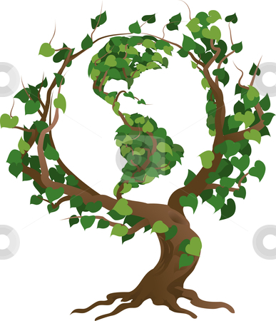 Green world tree vector illustration stock vector clipart, Conceptual environmental vector illustration. The globe growing in the branches of a tree. by Christos Georghiou