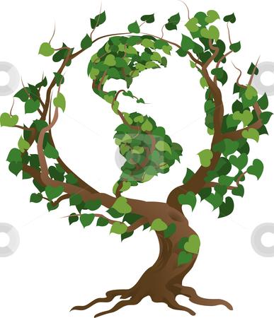 Green World Tree Vector Illustration Stock Vector