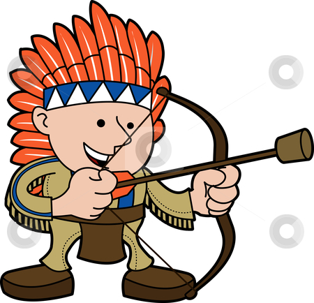 Illustration of man in Native American costume stock vector clipart, Illustration of young man in Native American costume with bow and arrow by Christos Georghiou