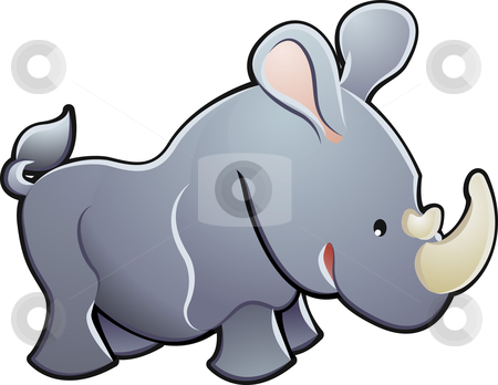 Cute Rhino Vector Illustration stock vector clipart, A cute rhino rhinoceros vector illustration by Christos Georghiou