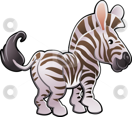 Cute Zebra Vector Illustration stock vector clipart, A vector illustration of a cute zebra by Christos Georghiou