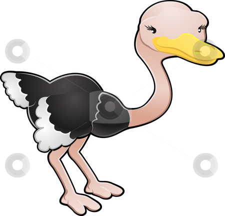 Cute Ostrich Vector Illustration stock vector clipart, A cartoon vector illustration of a cute ostrich bird by Christos Georghiou
