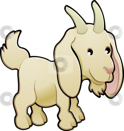 Cute Goat Farm Animal Vector Illustration stock vector clipart, A cute goat farm animal vector illustration by Christos Georghiou