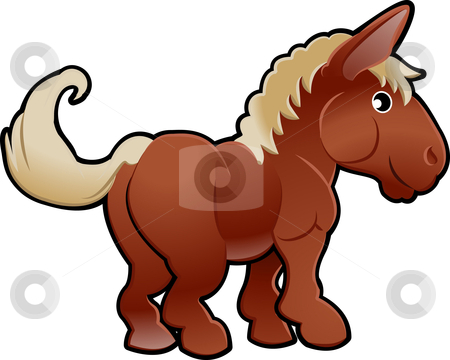 Cute Horse Farm Animal Vector Illustration stock vector clipart, A cute horse farm animal vector illustration by Christos Georghiou