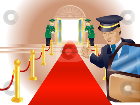 VIP Red Carpet Treatment stock vector clipart, Illustration, point of view of person getting out of a limousine with chauffer and doormen beckoning him or her into a venue like a vip or celebrity by Christos Georghiou