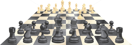 Game of chess vector illustration stock vector clipart, A complete set of chess pieces and board just after the start of a game by Christos Georghiou