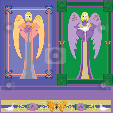 Angels stock vector clipart, Angels in manuscript style for easter or christmas, medieval, winged beings with dove, rose, butterfly, blond angel long skirt traditional, religious vector images, flat folk art posed angels, middle ages. by Maggie Bates