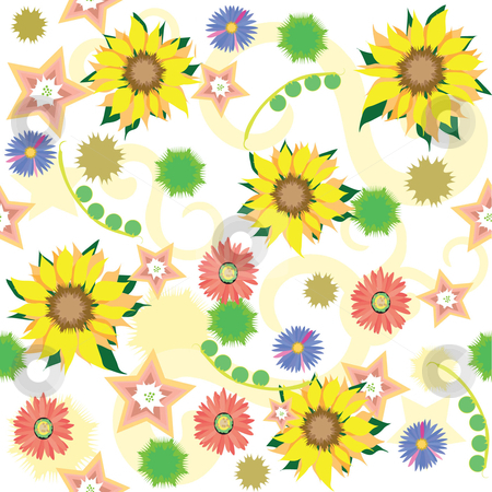 Flowers stock vector clipart, Spring and summer flowers in a continuous wallpaper pattern, bright and cheerful, seamless design in vector eps and jpg formats by Maggie Bates
