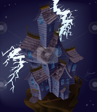 Illustration of haunted house stock vector clipart, Illustration of haunted house with lightning striking by Christos Georghiou