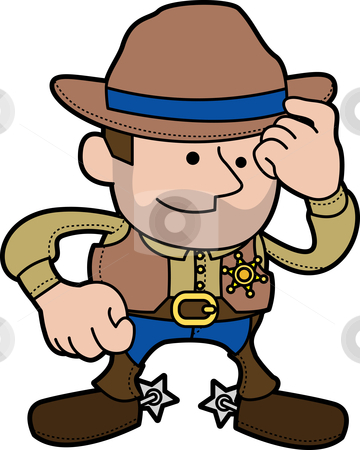 Illustration of cowboy sheriff stock vector clipart, Illustration of male cowboy sheriff in ranger outfit and hat by Christos Georghiou