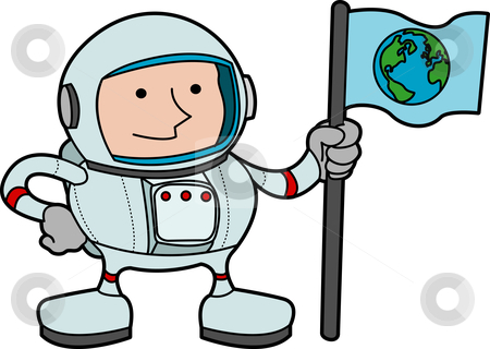 Illustration of astronaut stock vector clipart, Illustration of astronaut in space gear holding flag with earth on it by Christos Georghiou