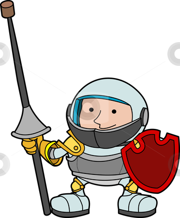 Illustration of young knight stock vector clipart, Illustration of young knight with shield and armor by Christos Georghiou