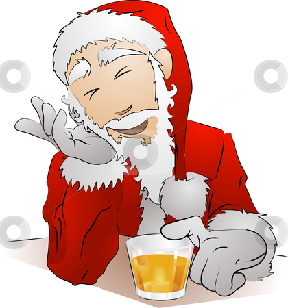 Illustration of drunk Santa Claus stock vector clipart, An Illustration of drunk Santa Claus sitting with his glass of drink by Christos Georghiou