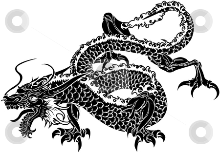 Illustration of Japanese dragon stock vector clipart, Illustration of black Japanese dragon on white background by Christos Georghiou