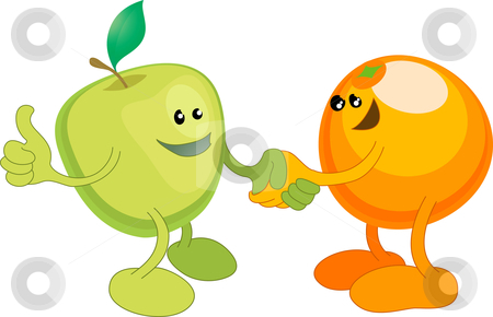 Apple and Orange happily shaking hands stock vector clipart, A conceptual vector illustration of an apple and orange shaking hands. Opposites attract, or different but equal, or perhaps a diverse partnership. by Christos Georghiou