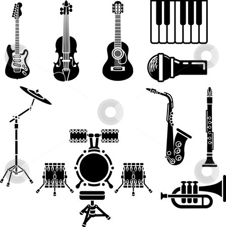 Musical Instrument Icon Set stock vector clipart, A vector icon set of musical instrument simple outline silhouettes by Christos Georghiou
