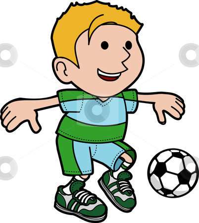 Illustration of boy playing soccer stock vector clipart, Illustration of young boy kicking soccer ball by Christos Georghiou
