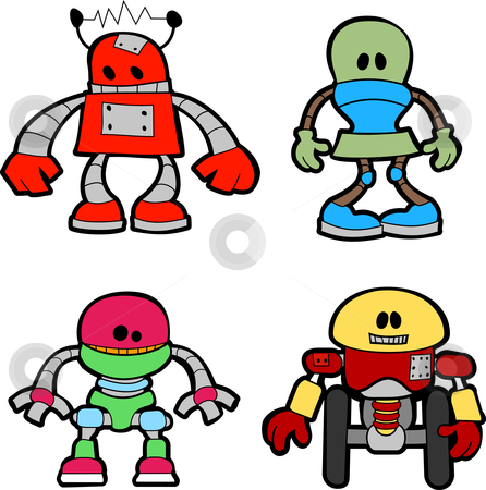 Illustration of little robots stock vector clipart, Illustration of variety of little mechanical robots by Christos Georghiou