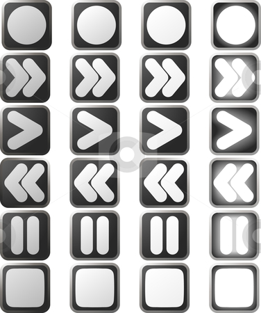 Clean White control panel icons and states stock vector clipart, A set of white control panel button icons in various rollover state versions by Christos Georghiou