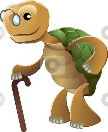 Illustration of elderly tortoise stock vector clipart, Illustration of elderly tortoise wearing eyeglasses and holding walking cane by Christos Georghiou