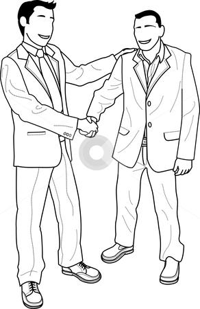 Illustration of businessmen shaking hands stock vector clipart, Illustration of faceless businessmen shaking hands and greeting by Christos Georghiou