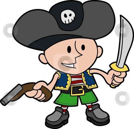 Illustration of boy in pirate costume stock vector clipart, Illustration of young boy in pirate costume with knife and gun by Christos Georghiou