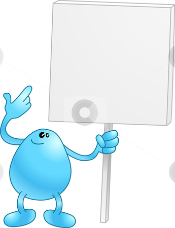 Beanie with a placard stock vector clipart, Blue wants you to look at his sign. Look at it! by Christos Georghiou