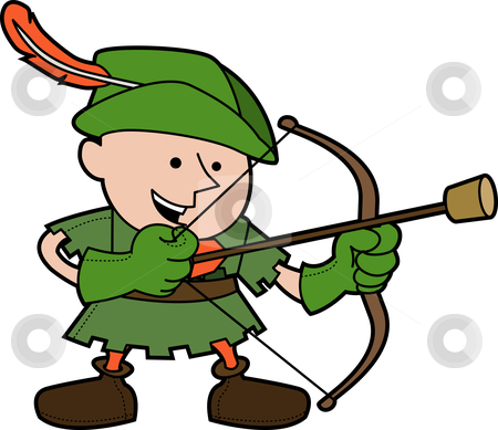 Illustration of robinhood stock vector clipart, Illustration of young man in robinhood costume with bow and arrow by Christos Georghiou