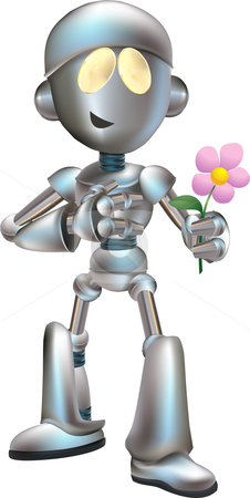 Illustration of love struck robot with flower stock vector clipart, Illustration of love struck futuristic robot holding flower out by Christos Georghiou