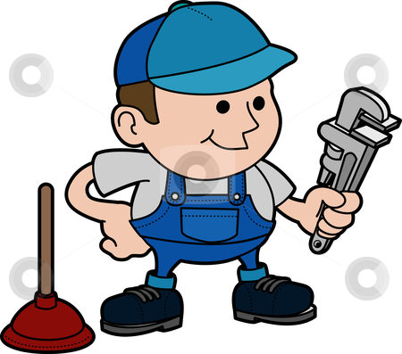 Illustration of plumber stock vector clipart, Illustration of male plumber with wrench and plunger by Christos Georghiou
