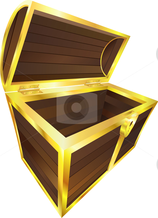 Empty wooden treasure or pirate chest stock vector clipart, An illustration of an empty wooden treasure or pirate chest by Christos Georghiou