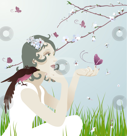 At one with nature stock vector clipart, A beautiful young woman sitting under a blossoming tree with bird and butterflies by Christos Georghiou