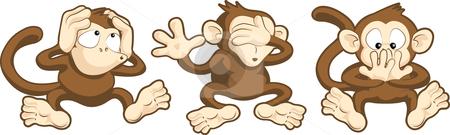 Hear no evil, see no evil, speak no evil monkeys illustration stock vector clipart, Vector illustration of hear no evil, see no evil, speak no evil monkeys by Christos Georghiou