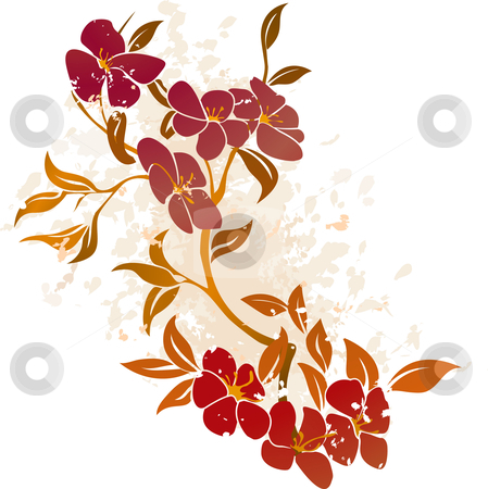 Floral Grunge Background Vector stock vector clipart, A vector illustration of a floral grunge background by Christos Georghiou