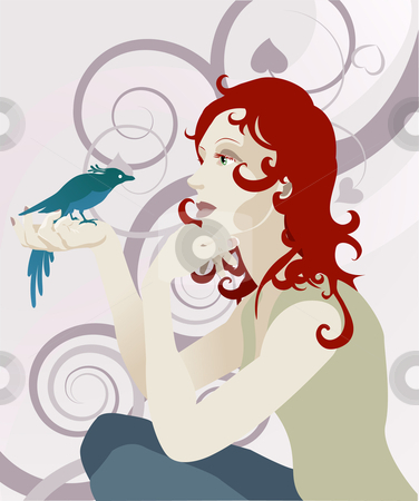 Woman and bird concept stock vector clipart, A beautiful red haired woman looking at a bird perched in her hand by Christos Georghiou