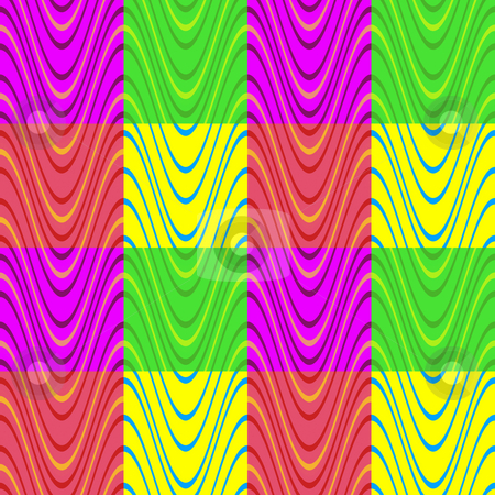 Multicolor block wave pattern stock photo, Seamless texture of wave in different colored blocks by Wino Evertz