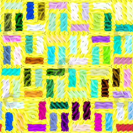 Yellow tiles pattern stock photo, Seamless 3d texture of bright wavy colored cubes on yellow by Wino Evertz