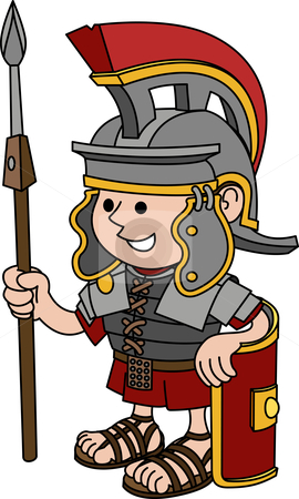 Illustration of Roman soldier stock vector clipart, Illustration of Roman soldier holding sword and shield by Christos Georghiou