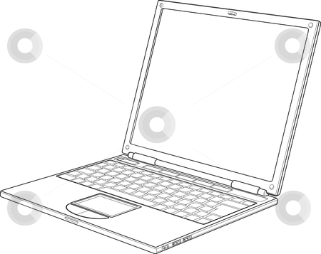 Laptop outline vector illustration stock vector clipart, Laptop outline vector illustration by Christos Georghiou