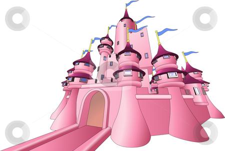 Illustration of fairy castle stock vector clipart, Illustration of pink fairy castle by Christos Georghiou