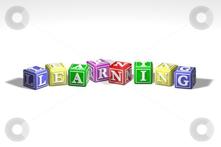 Illustration of learning blocks stock photo, Illustration of colorful learning blocks in a row by Christos Georghiou