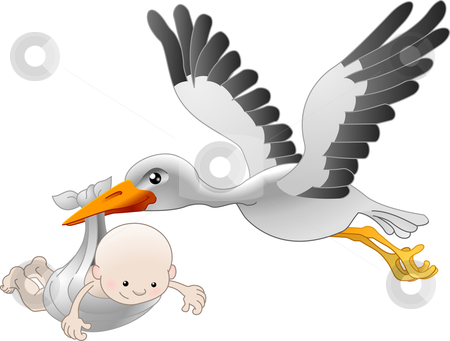 Stork delivering a newborn baby stock vector clipart, Illustration of a flying stork delivering a newborn baby by Christos Georghiou