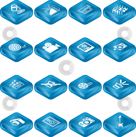 Media Icon Series Set stock vector clipart, A series set of icons relating to various types of media. by Christos Georghiou