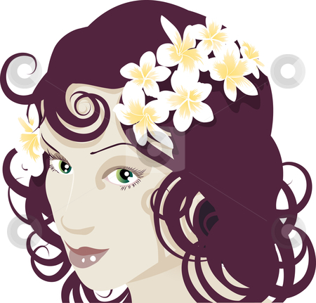 Flowers in her hair stock vector clipart, Close up of beautiful young woman by Christos Georghiou