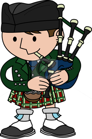 Illustration of bagpiper stock vector clipart, Illustration of male Scottish bagpiper playing bagpipes by Christos Georghiou