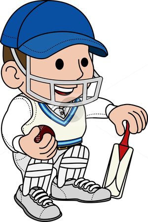 Illustration of cricketer stock vector clipart, Illustration of male cricketball player in cricket uniform by Christos Georghiou