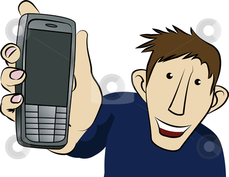 Look At My Mobile stock vector clipart, A man holding his mobile up to you by Christos Georghiou