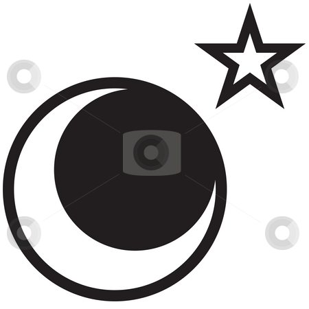 Moon and Star stock photo, A star and moon drawing - rasterized vector drawing made in adobe illustrator. by Todd Arena
