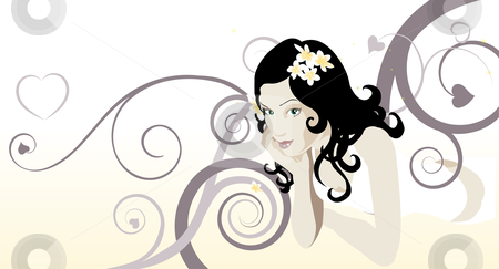 Beautiful woman stock vector clipart, A beautiful woman laying down looking at the viewer with abstract background by Christos Georghiou