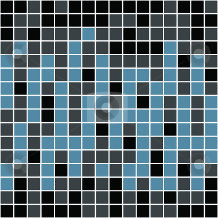 Blue Squares Pattern stock photo, A blue tiles or pixels texture that tiles seamlessly as a pattern. by Todd Arena